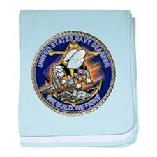 US Navy Seabees We Fight Gold baby blanket
