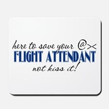Flight Attendant Here to Save (blue) Mousepad