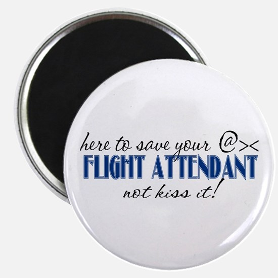 Flight Attendant Here to Save (blue) Magnet