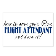 Flight Attendant Here to Save (blue) Postcards (Pa