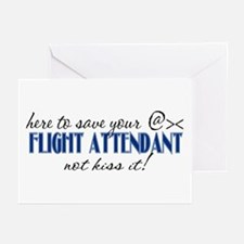 Flight Attendant Here to Save (blue) Greeting Card