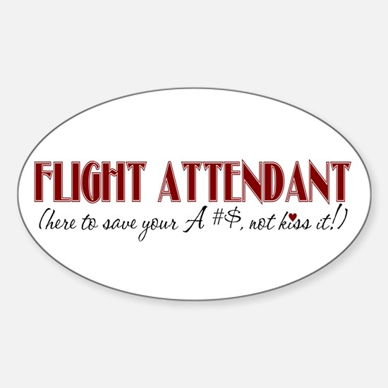 Flight Attendant here to(red) Oval Decal