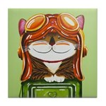 Flighter Cat Pilot Tile Coaster