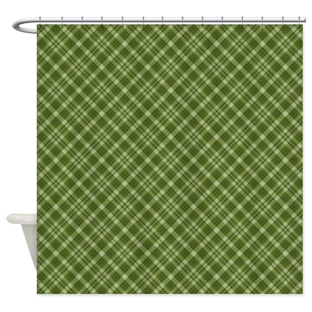 Dark Green Plaid Shower Curtain By Laurie77
