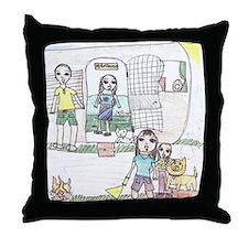 Monique's family camping Throw Pillow