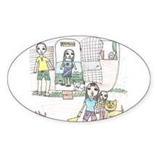 Monique's family camping Oval Decal