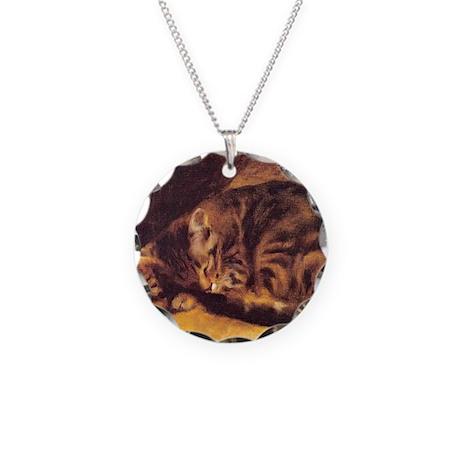 Renoir's Sleeping Cat Necklace Circle Charm