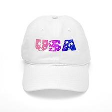 USA in bi colors on white Baseball Cap