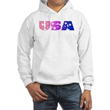 USA in bi colors on white Hoodie