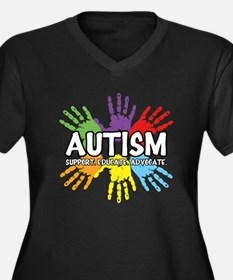 Autism Women's Plus Size V-Neck Dark T-Shirt