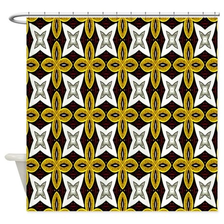 Gold Black And White Print Shower Curtain By Cindysstuff