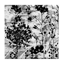 Black & White Floral Tile Coaster