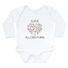 Love all Creatures Long Sleeve Infant Bodysuit