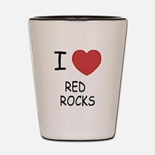I heart red rocks Shot Glass