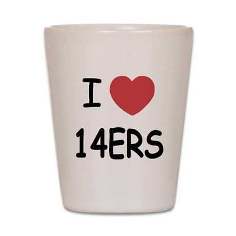 I heart 14ers Shot Glass