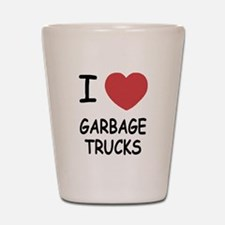 I heart garbage trucks Shot Glass