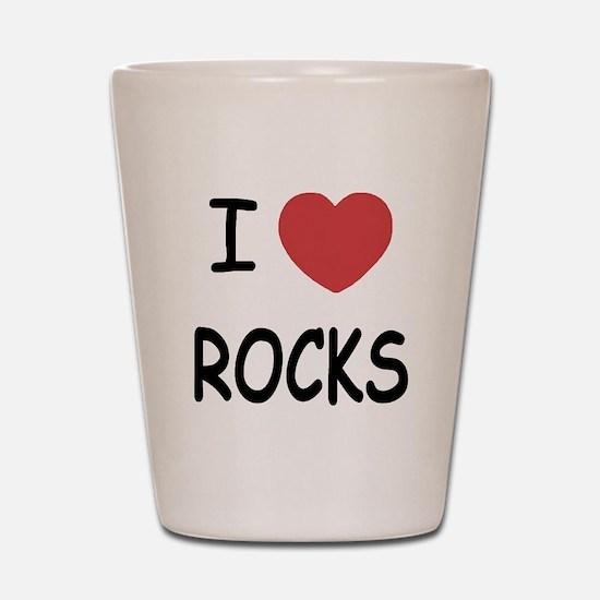 I heart rocks Shot Glass