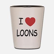 I heart loons Shot Glass