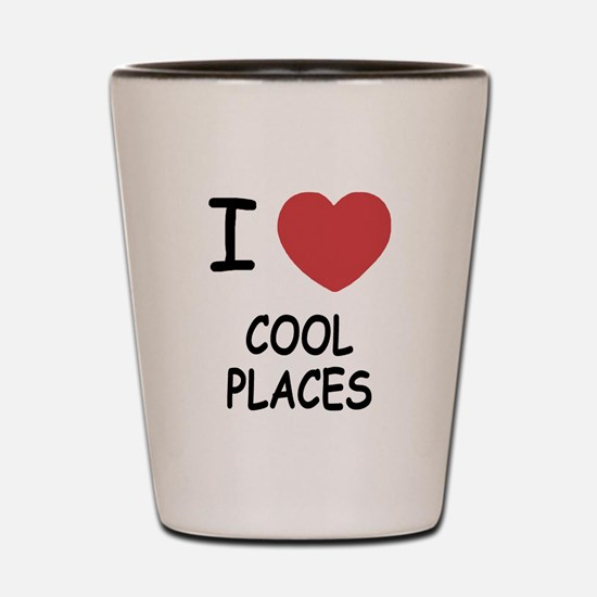 I heart cool places Shot Glass
