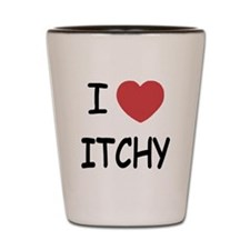 I heart itchy Shot Glass