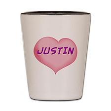 justin heart Shot Glass