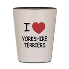 I heart yorkshire terriers Shot Glass