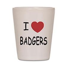 I heart badgers Shot Glass