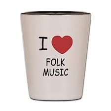 I heart folk music Shot Glass