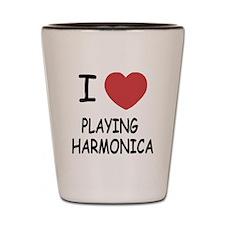 I heart playing harmonica Shot Glass