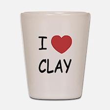 I heart clay Shot Glass
