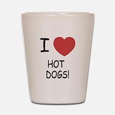 I heart hot dogs Shot Glass
