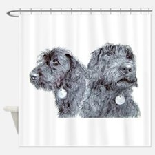 Two Black Labradoodles Shower Curtain