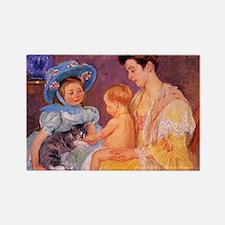 Mary Cassatt, Cat Cuddle Rectangle Magnet