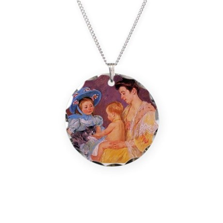 Mary Cassatt, Cat Cuddle Necklace Circle Charm