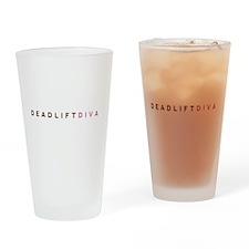 Deadlift Diva - Brown & Pink Drinking Glass