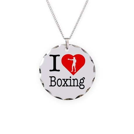 I Love Boxing Necklace Circle Charm