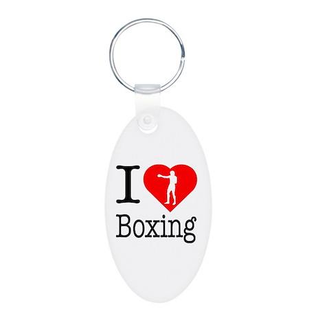 I Love Boxing Aluminum Oval Keychain