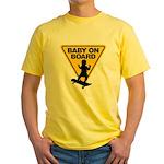 Baby On Board (Skateboard) Yellow T-Shirt