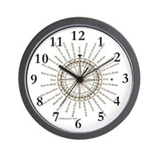 Good Luck English Compass Rose Wall Clock