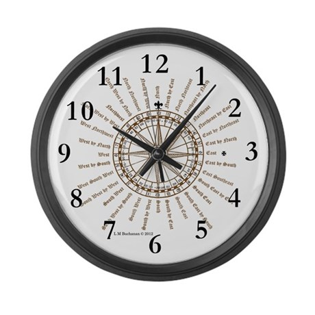 good luck english compass rose large wall clock by