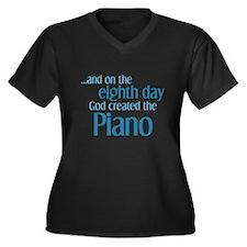 Piano Creation Women's Plus Size V-Neck Dark T-Shi