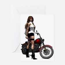 Road Angel Biker Girl Greeting Card