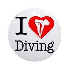 I Love Diving Ornament (Round)