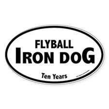 Flyball Iron Dog Oval Decal