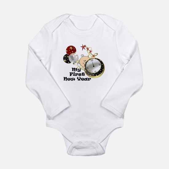 Cute Triplets first new year Long Sleeve Infant Bodysuit