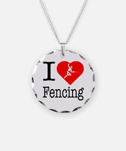I Love Fencing Necklace