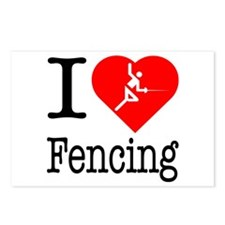 I Love Fencing Postcards (Package of 8)