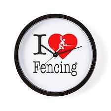 I Love Fencing Wall Clock