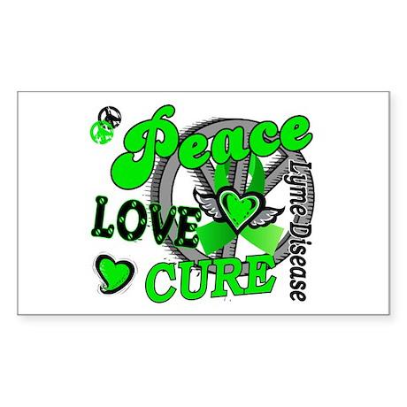Peace Love Cure 2 Lyme Disease Sticker (Rectangle)