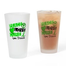 Peace Love Cure Lyme Disease Drinking Glass